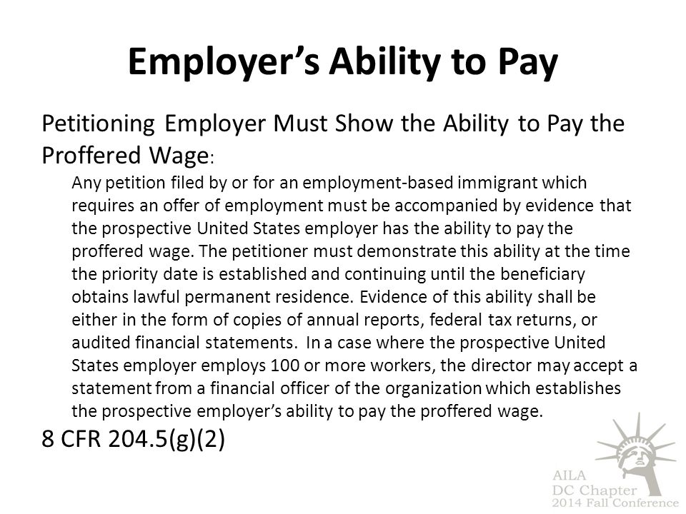 Employer's Ability to Pay