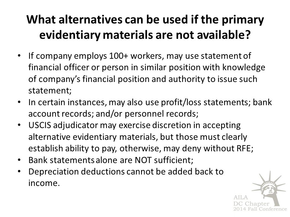 What alternatives can be used if the primary evidentiary materials are not available