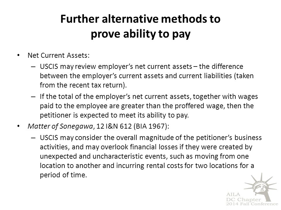 Further alternative methods to prove ability to pay