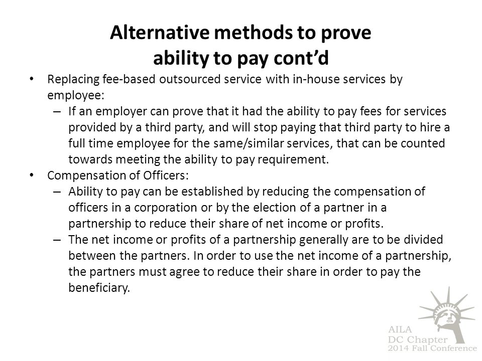 Alternative methods to prove ability to pay cont'd