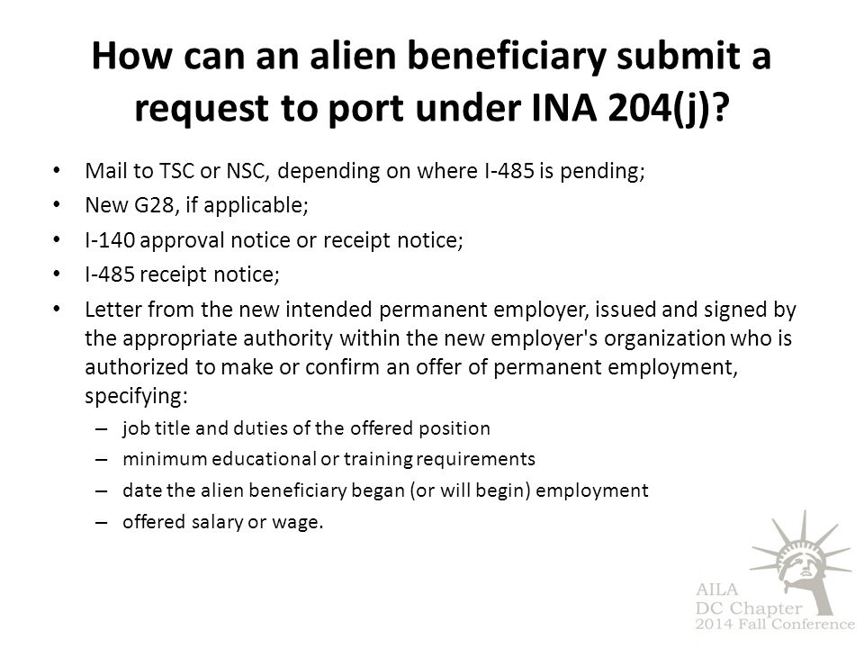 How can an alien beneficiary submit a request to port under INA 204(j)