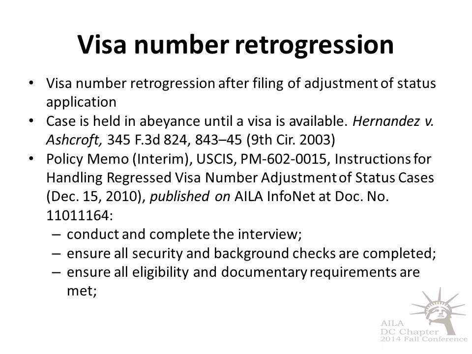 Visa number retrogression