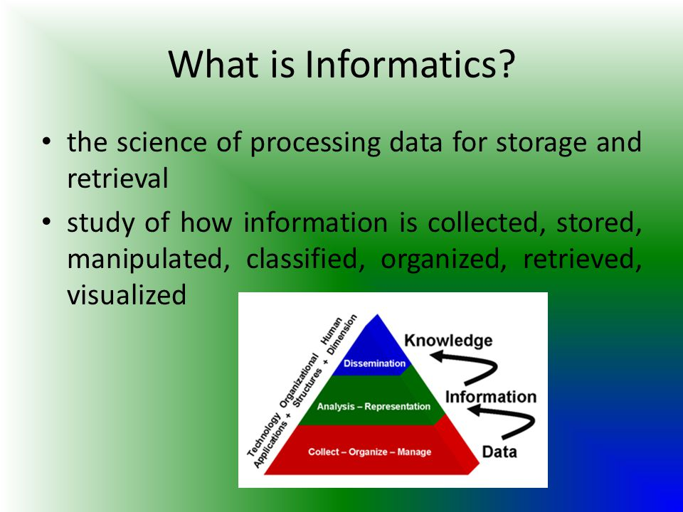 What is Informatics the science of processing data for storage and retrieval.