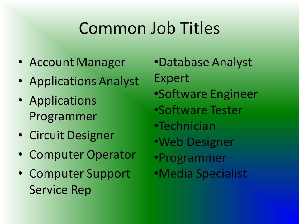Common Job Titles Account Manager Applications Analyst