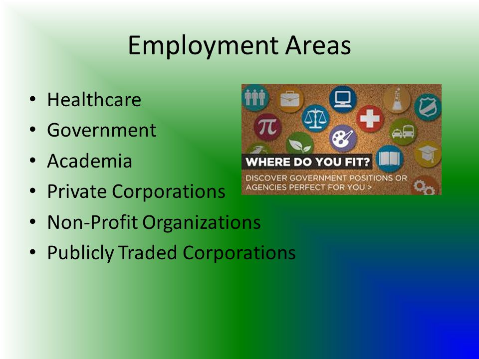 Employment Areas Healthcare Government Academia Private Corporations