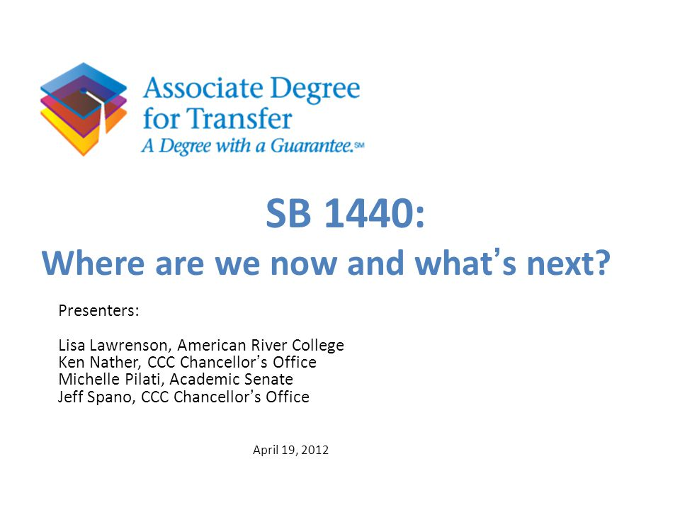SB 1440: Where are we now and what's next Presenters: