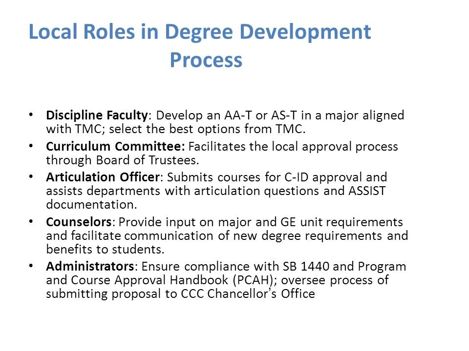 Local Roles in Degree Development Process