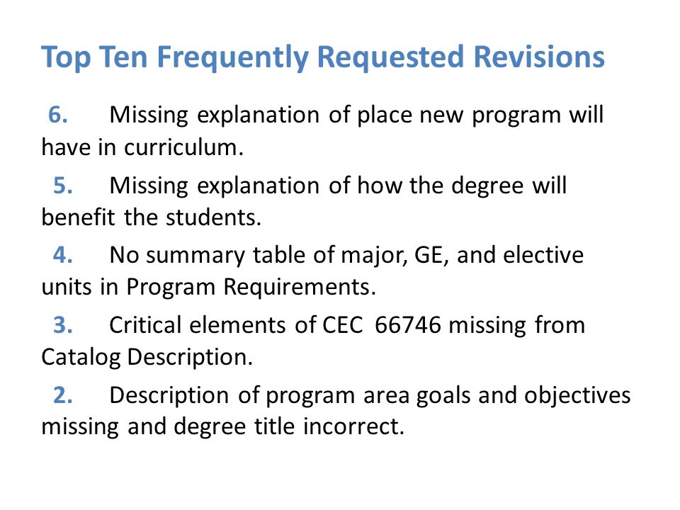 Top Ten Frequently Requested Revisions