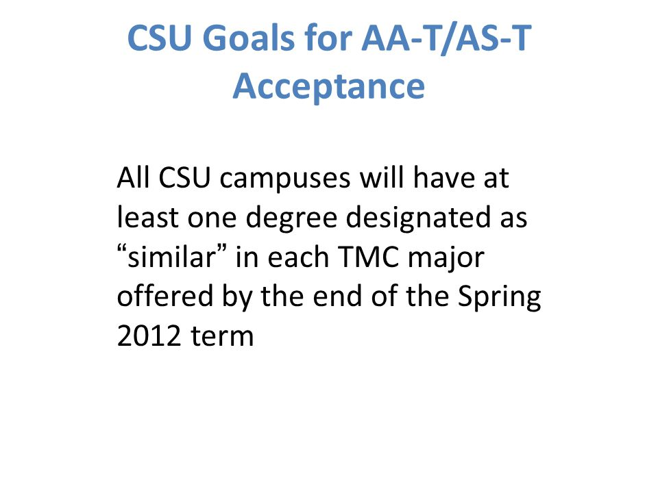 CSU Goals for AA-T/AS-T Acceptance