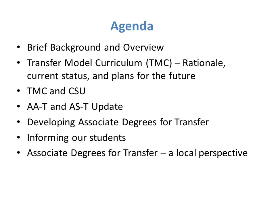 Agenda Brief Background and Overview