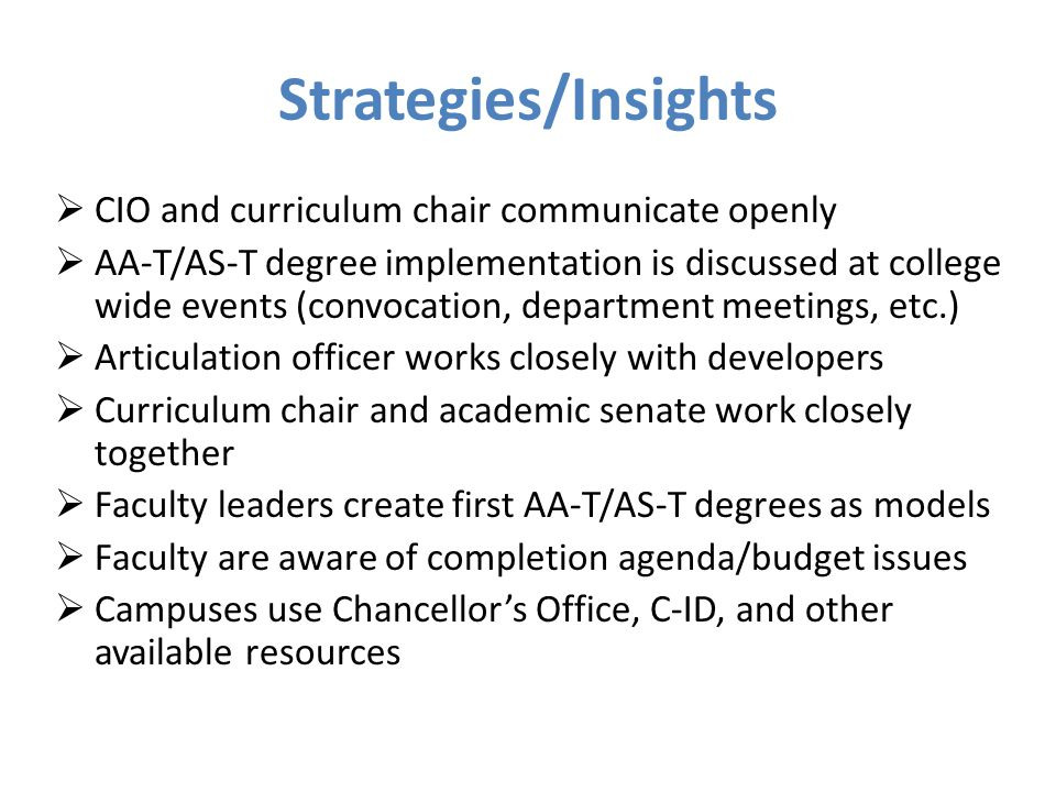 Strategies/Insights CIO and curriculum chair communicate openly