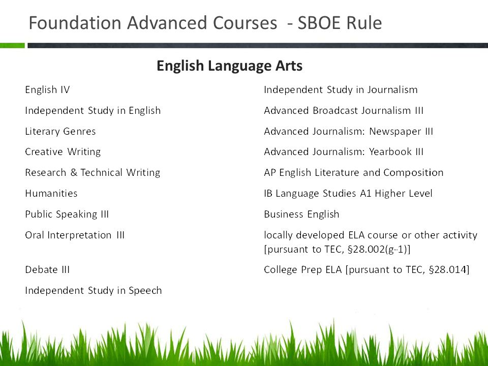 Foundation Advanced Courses - SBOE Rule