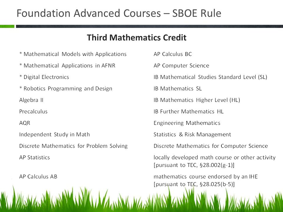 Foundation Advanced Courses – SBOE Rule