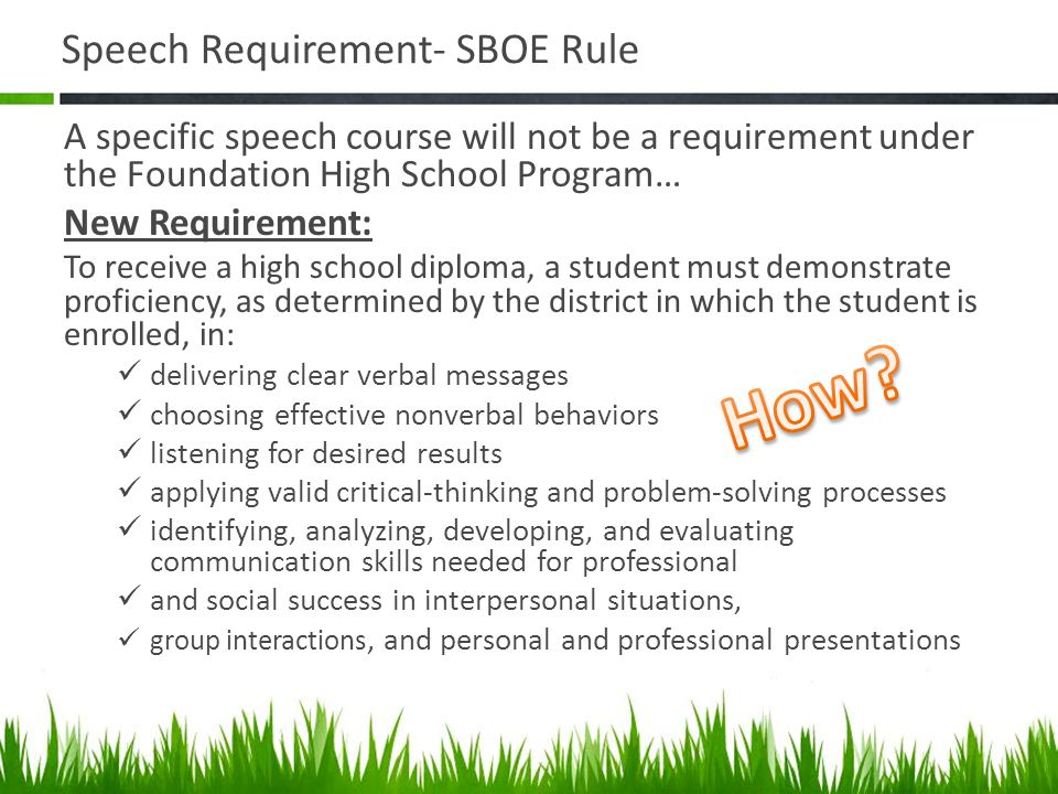 Speech Requirement- SBOE Rule