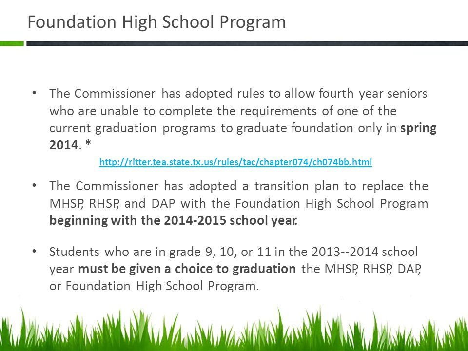 Foundation High School Program