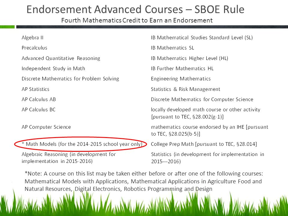 Endorsement Advanced Courses – SBOE Rule