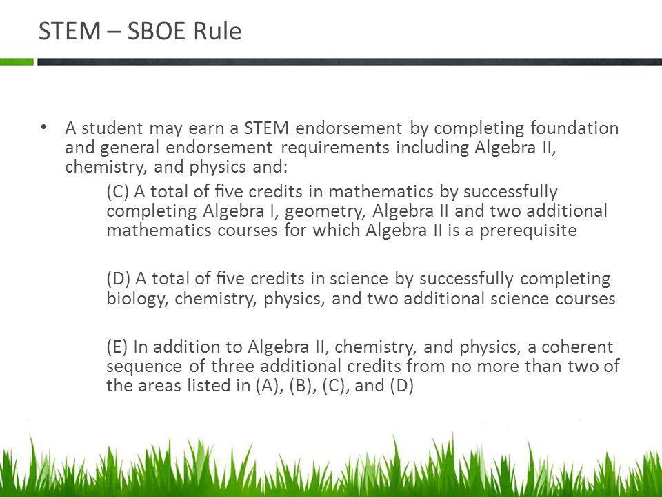 STEM – SBOE Rule