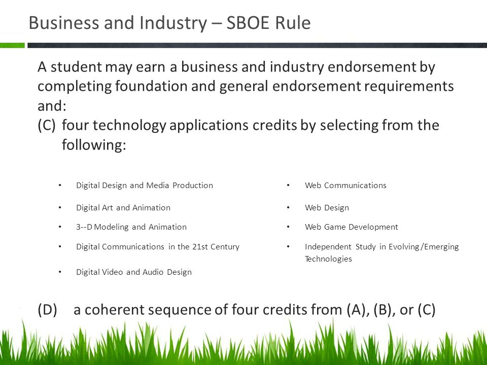 Business and Industry – SBOE Rule