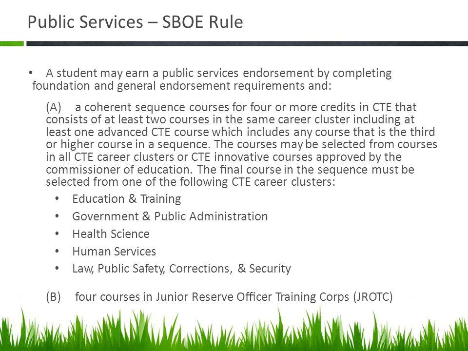 Public Services – SBOE Rule