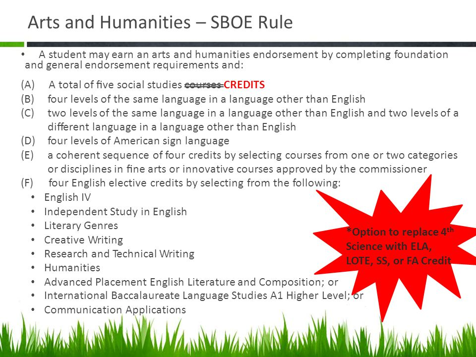 Arts and Humanities – SBOE Rule