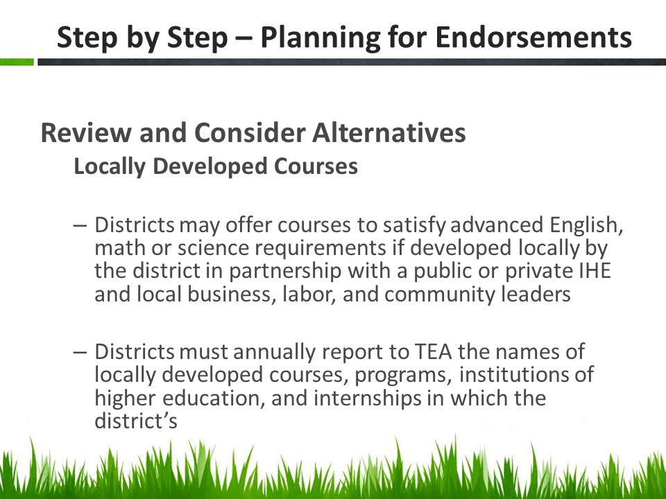 Step by Step – Planning for Endorsements