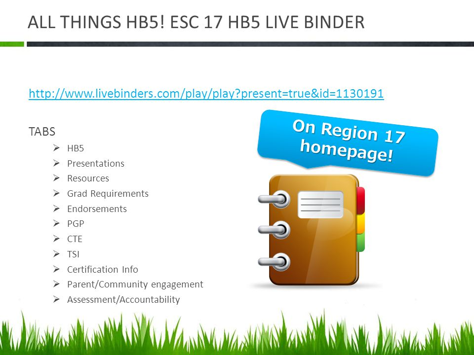 ALL THINGS HB5! ESC 17 HB5 LIVE BINDER