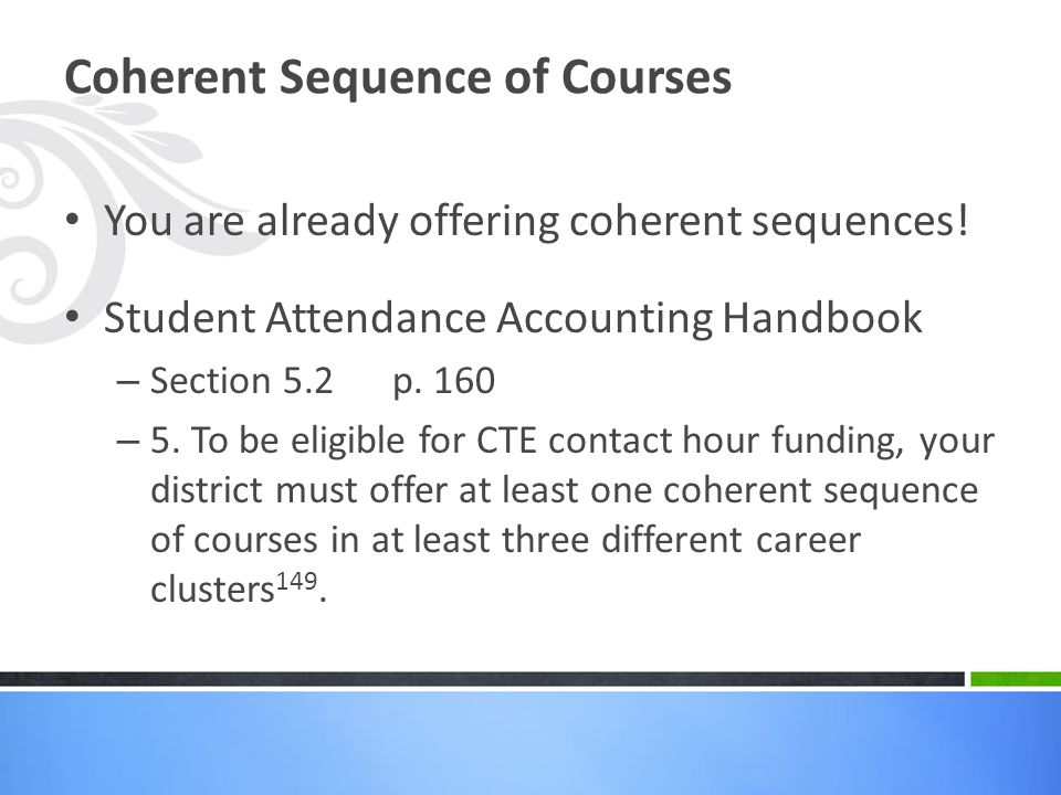 Coherent Sequence of Courses
