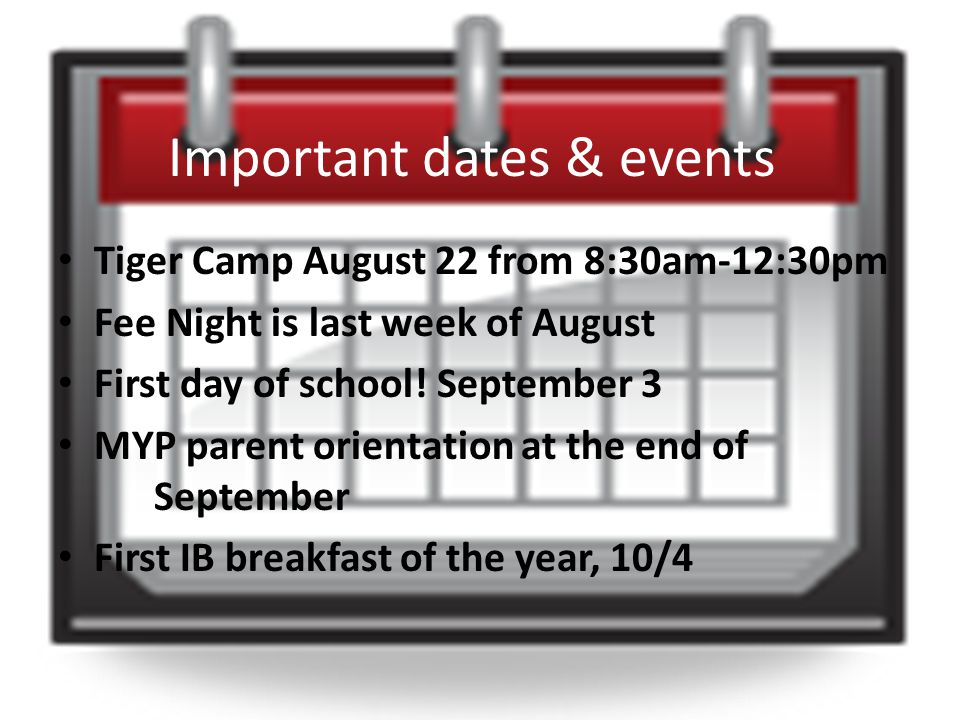 Important dates & events