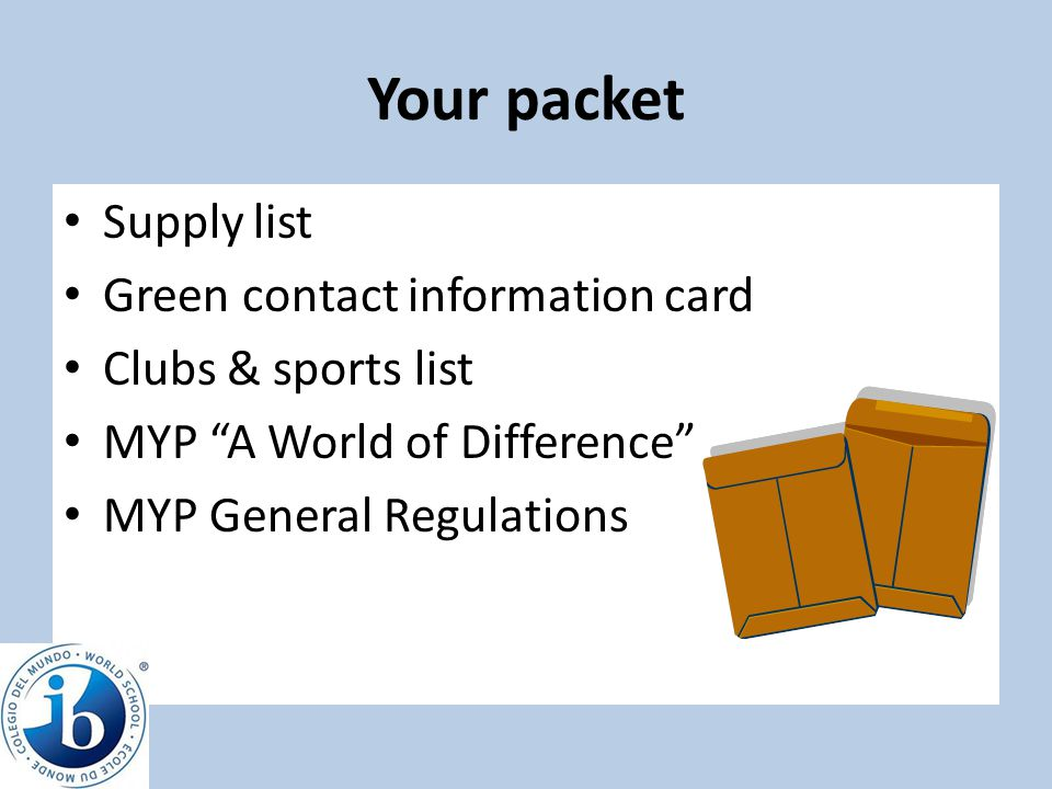 Your packet Supply list