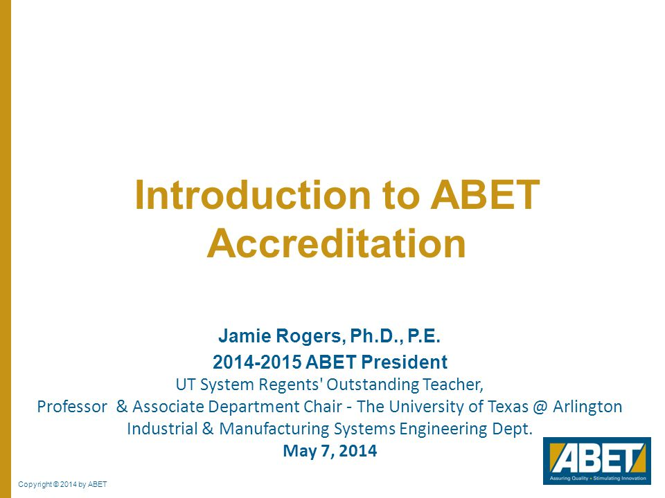 Introduction to ABET Accreditation