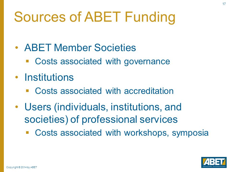 Sources of ABET Funding