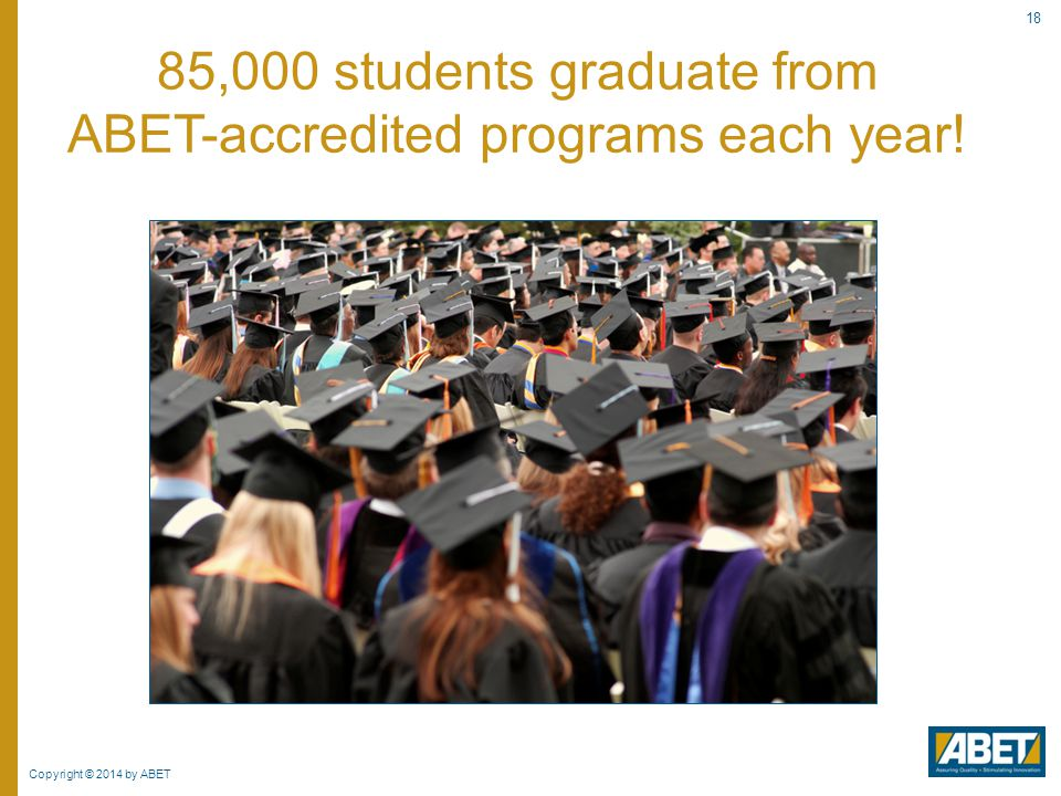 85,000 students graduate from ABET-accredited programs each year!