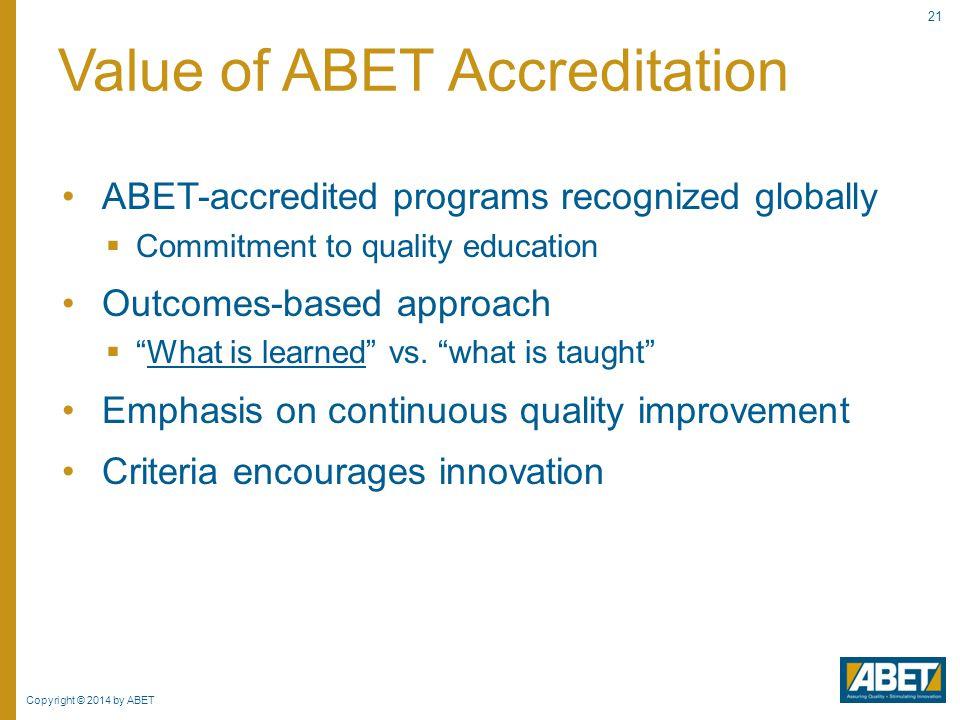 Value of ABET Accreditation