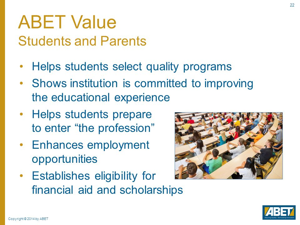 ABET Value Students and Parents