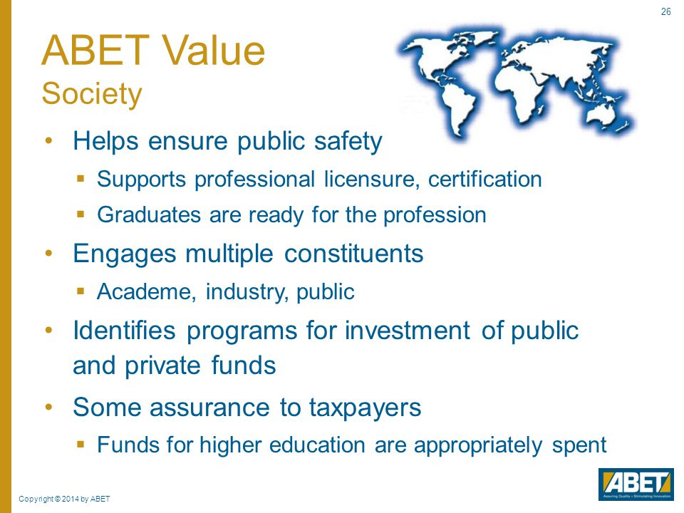 ABET Value Society Helps ensure public safety
