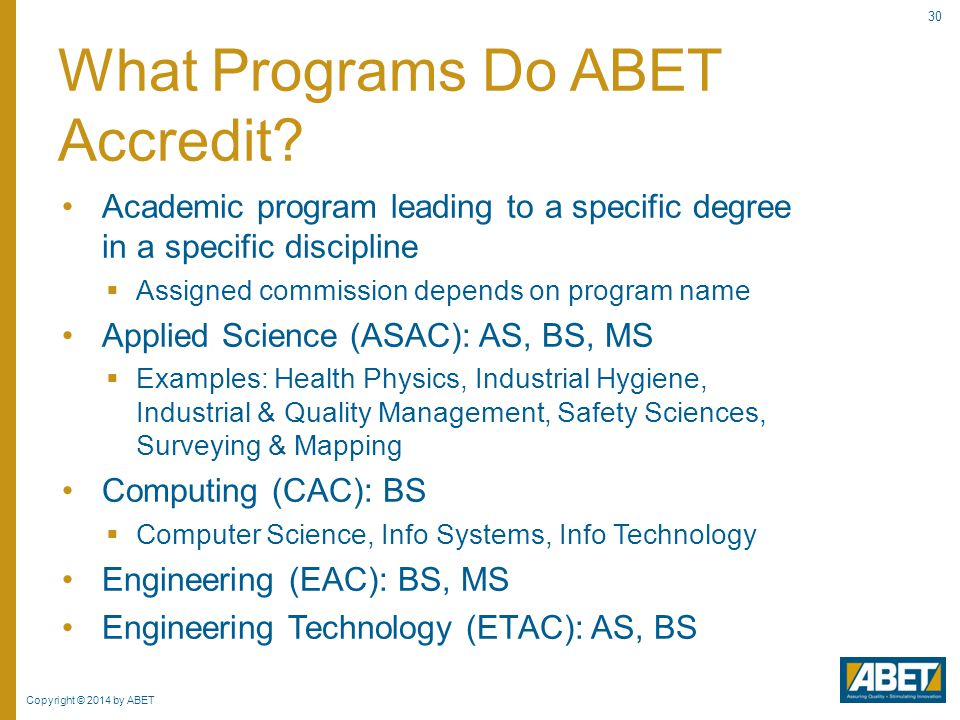 What Programs Do ABET Accredit