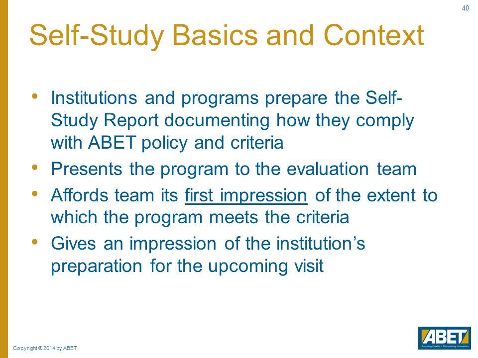 Self-Study Basics and Context