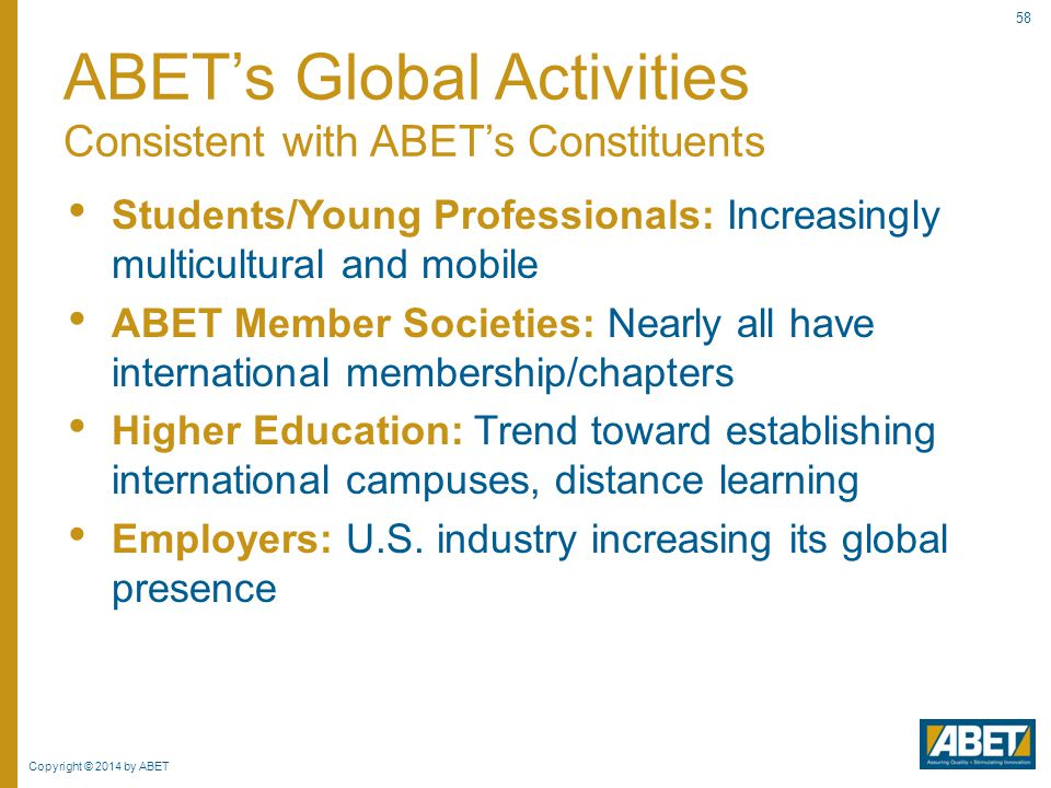 ABET's Global Activities Consistent with ABET's Constituents