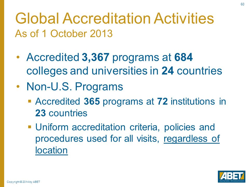 Global Accreditation Activities As of 1 October 2013