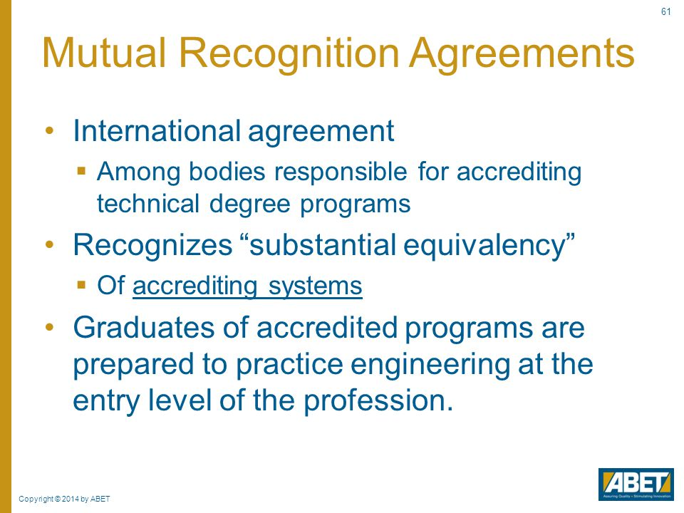 Mutual Recognition Agreements