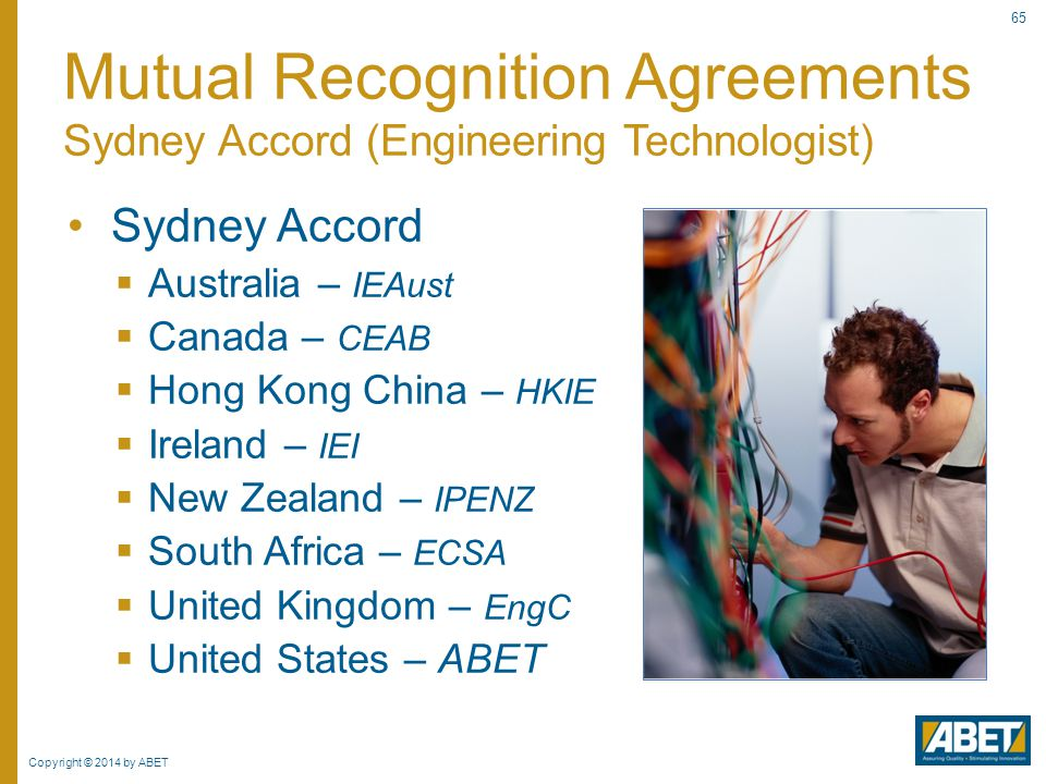 Mutual Recognition Agreements Sydney Accord (Engineering Technologist)