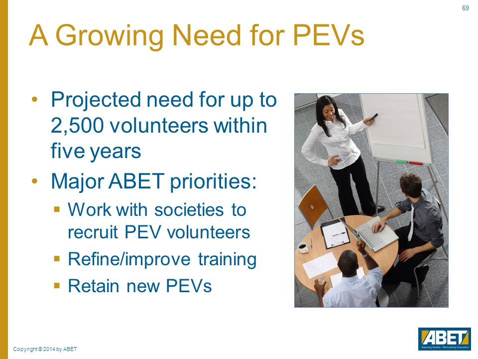 A Growing Need for PEVs Projected need for up to 2,500 volunteers within five years. Major ABET priorities: