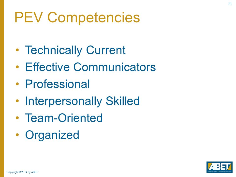PEV Competencies Technically Current Effective Communicators