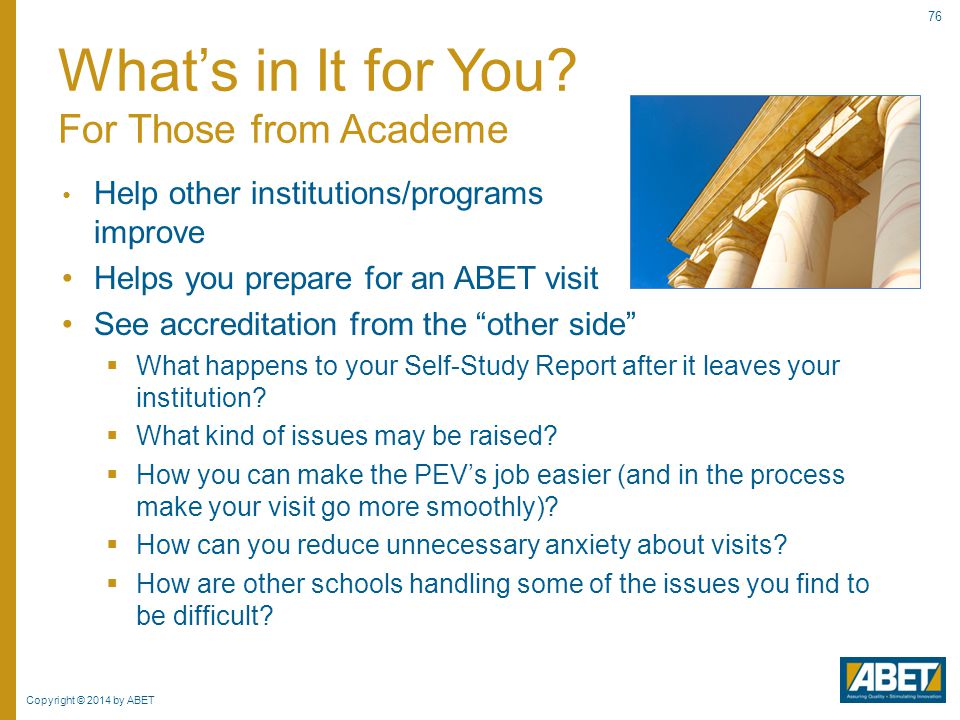What's in It for You For Those from Academe