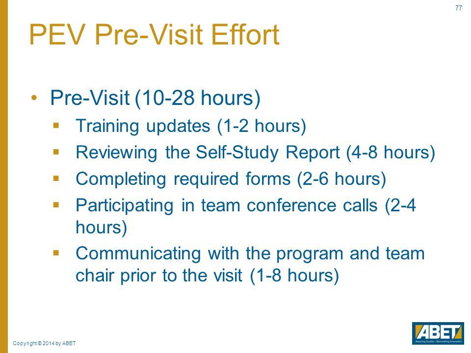 PEV Pre-Visit Effort Pre-Visit (10-28 hours)