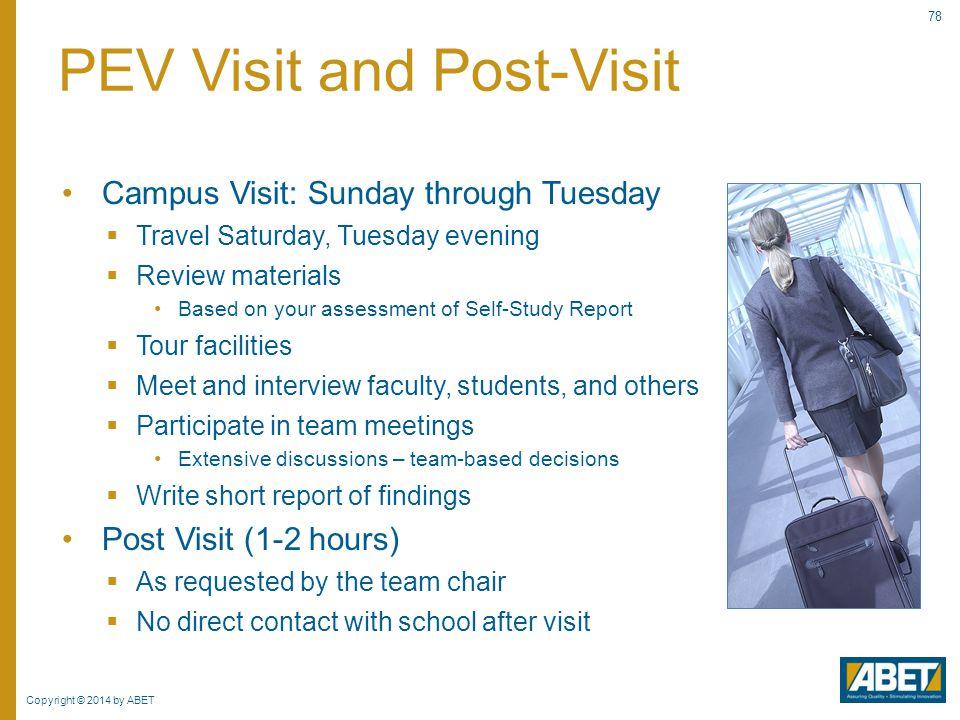 PEV Visit and Post-Visit