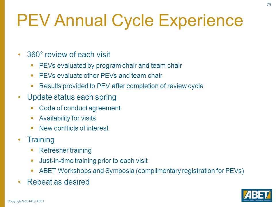 PEV Annual Cycle Experience