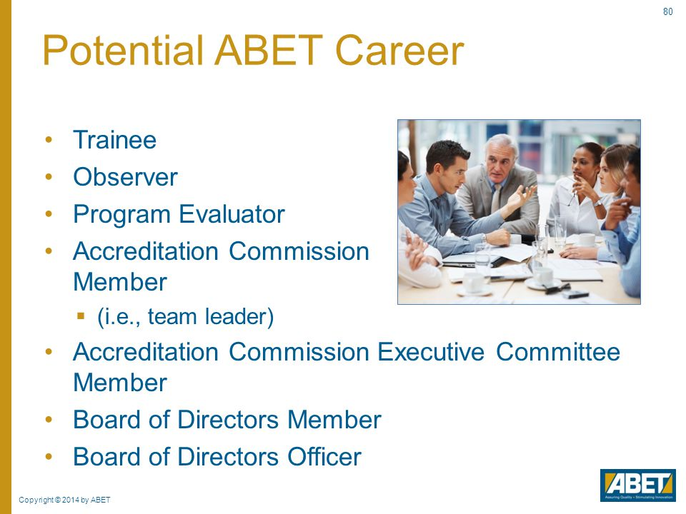 Potential ABET Career Trainee Observer Program Evaluator