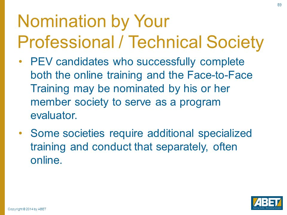Nomination by Your Professional / Technical Society