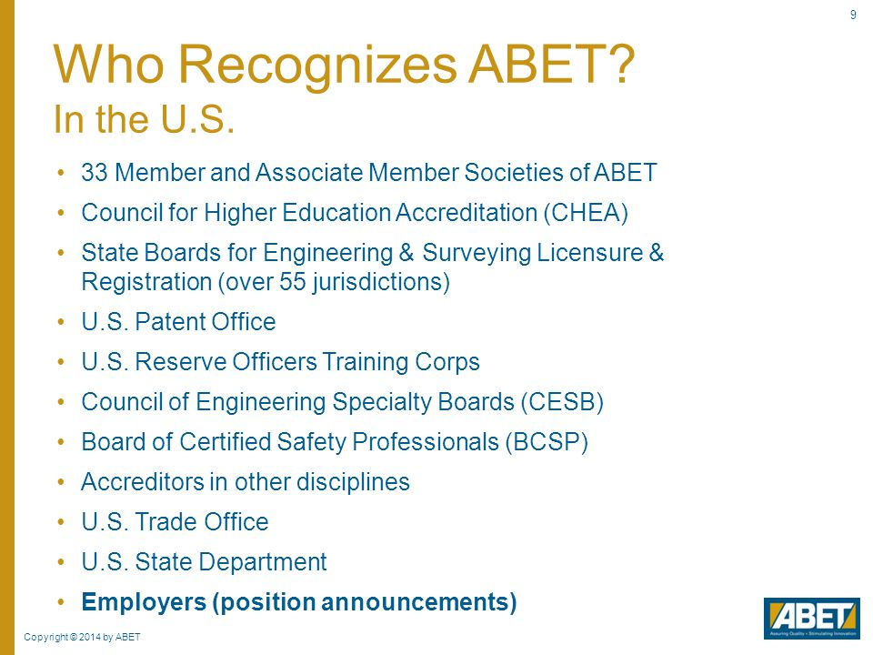 Who Recognizes ABET In the U.S.